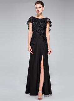 Trompete/Meerjungfrau-Linie U-Ausschnitt Bodenlang Lace Jersey Abendkleid mit Perlstickerei Pailletten Schlitz Vorn (017050134)