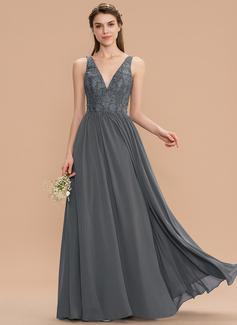 A-Line V-neck Floor-Length Chiffon Lace Bridesmaid Dress (007165831)