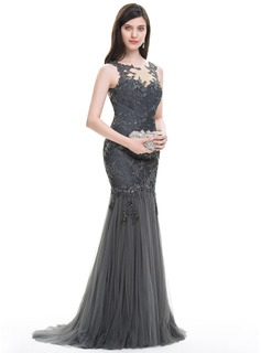 Trumpet/Mermaid Scoop Neck Sweep Train Tulle Lace Evening Dress With Sequins Pleated (017105913)
