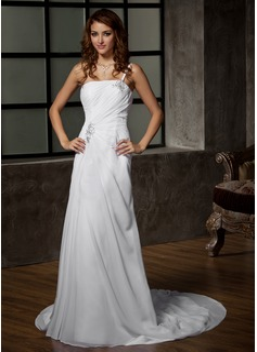 Forme Princesse Encolure asymétrique Traîne moyenne Mousseline Robe de mariée avec Plissé Emperler (002011968)
