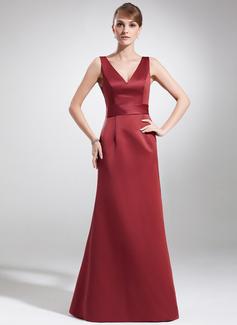 A-Linie/Princess-Linie V-Ausschnitt Bodenlang Satin Kleid für die Brautmutter (008016181)