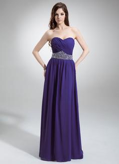 A-Linie/Princess-Linie Herzausschnitt Bodenlang Chiffon Abendkleid mit Rüschen Perlen verziert Pailletten (017016243)
