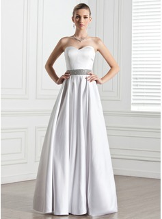 A-Line/Princess Sweetheart Floor-Length Satin Wedding Dress With Beading (002005275)