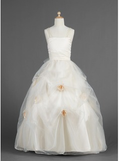 Ball Gown Floor-length Flower Girl Dress - Organza/Charmeuse Sleeveless Sweetheart With Flower(s)/Pick Up Skirt (010014619)
