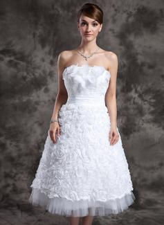 Forme Princesse Sans bretelle Longueur mollet Taffeta Tulle Robe de mariée avec Dentelle Fleur(s) (002024069)