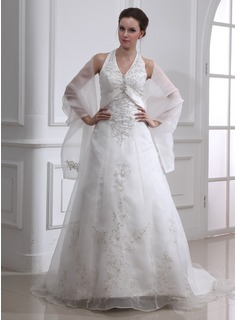 Cheap Wedding Dresses A-Line/Princess Halter Chapel Train Organza Satin Wedding Dress With Embroidery Beadwork (002000283)