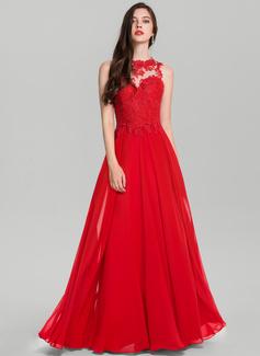 A-Line Scoop Neck Floor-Length Chiffon Evening Dress (017126603)