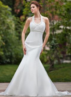 Trumpet/Mermaid Halter Chapel Train Organza Wedding Dress With Ruffle Beading (002001277)