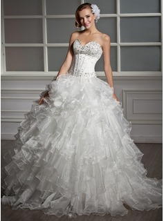 Ball-Gown Sweetheart Floor-Length Organza Satin Wedding Dress With Beading Sequins Cascading Ruffles (002013819)