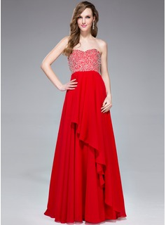 Empire Sweetheart Floor-Length Chiffon Prom Dress With Beading Sequins Cascading Ruffles (017041050)