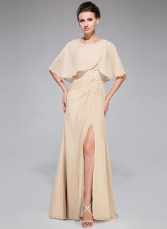 A-Linie/Princess-Linie Eine Schulter Bodenlang Chiffon Kleid für die Brautmutter mit Rüschen Perlstickerei Pailletten Schlitz Vorn (008042329)