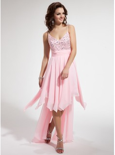 A-Line/Princess V-neck Asymmetrical Chiffon Charmeuse Homecoming Dress With Beading Cascading Ruffles (022009543)