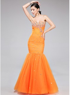 Trumpet/Mermaid Sweetheart Floor-Length Tulle Prom Dress With Ruffle Beading Appliques Lace (007040816)