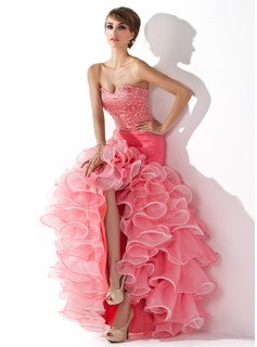 Galajurken Zeemeermin Sweetheart A-Symmetrisch Organza Satin Galajurk met Roes Kraal Lovertjes (018005075)