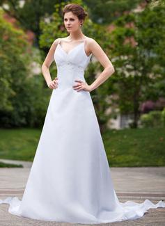 Empire V-neck Watteau Train Organza Wedding Dress With Ruffle Beading Sequins (002011667)