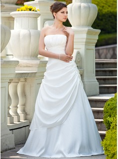 A-Line/Princess Strapless Sweep Train Taffeta Wedding Dress With Ruffle (002000692)