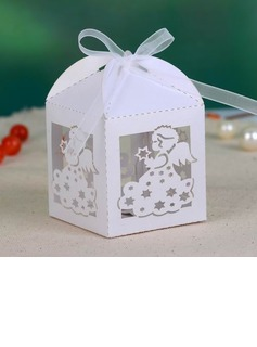 Beautiful Angel Cuboid Favor Boxes With Ribbons (Set of 12) (050026818)