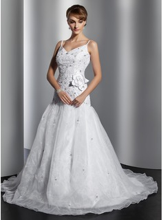 Ball-Gown V-neck Court Train Organza Satin Wedding Dress With Embroidery Beading Flower(s) Sequins (002014794)