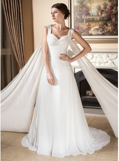 A-Line/Princess Sweetheart Watteau Train Chiffon Wedding Dress With Ruffle (002000573)
