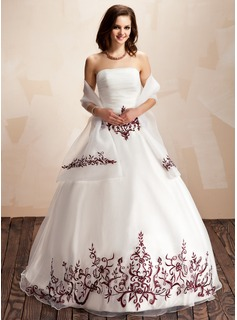 Ball-Gown Strapless Floor-Length Organza Quinceanera Dress With Embroidered Ruffle Beading Sequins (021003131)