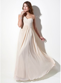 A-Line/Princess One-Shoulder Floor-Length Chiffon Lace Holiday Dress With Ruffle Beading (020016076)