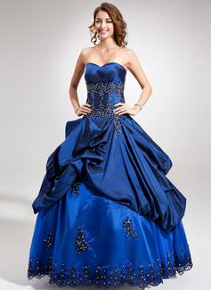 Duchesse-Linie Schatz Bodenlang Taft Quinceañera Kleid (Kleid für die Geburtstagsfeier) mit Perlstickerei Applikationen Spitze Pailletten (021016374)