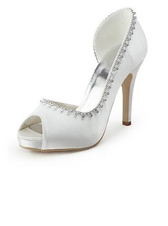 Women's Satin Cone Heel Peep Toe Platform Sandals With Rhinestone (047005498)