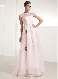 Robe de Bal de Promo Ligne-A/Princesse Col rond Longeur au sol Organza Robe de Bal de Promo avec Fleurs (018014250)