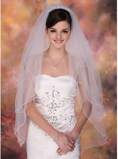 Two-tier Fingertip Bridal Veils With Pencil Edge (006003757)