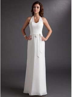 Sheath/Column Halter Floor-Length Chiffon Bridesmaid Dress With Bow(s) (007001821)