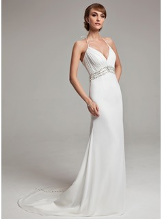 A-Line/Princess Halter Court Train Chiffon Wedding Dress With Ruffle Beadwork Sequins (002001676)
