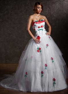 Duchesse-Linie Herzausschnitt Kapelle-schleppe Tüll Quinceañera Kleid (Kleid für die Geburtstagsfeier) mit Applikationen Spitze Gestufte Rüschen (021027004)