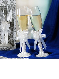 Elegant Toasting Flutes With Ribbon Bow (126032347)