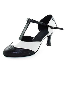 Women's Real Leather Heels Pumps Modern With T-Strap Dance Shoes (053013131)