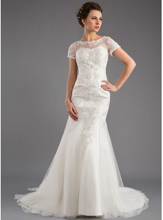 Trumpet/Mermaid Scoop Neck Court Train Tulle Lace Wedding Dress With Sequins (002035871)