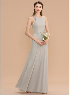 Trumpet/Mermaid Halter Floor-Length Chiffon Bridesmaid Dress With Lace (007165833)