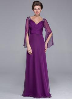 A-Linie/Princess-Linie V-Ausschnitt Bodenlang Chiffon Kleid für die Brautmutter mit Rüschen Perlen verziert (008025758)