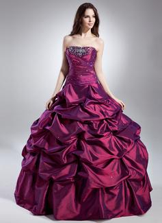 Duchesse-Linie Trägerlos Bodenlang Taft Quinceañera Kleid (Kleid für die Geburtstagsfeier) mit Rüschen Perlen verziert (021015621)