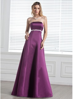 Empire Strapless Floor-Length Satin Bridesmaid Dress With Sash (007000887)