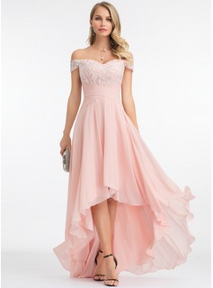 A-Line Off-the-Shoulder Asymmetrical Chiffon Evening Dress With Sequins (017198678)