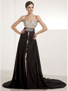 Evening Dresses A-Line/Princess Sweetheart Chapel Train Chiffon Tulle Evening Dress With Lace Beading Sequins (017014235)