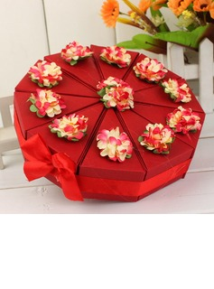 Pyramid Favor Boxes With Flowers/Ribbons (Set of 10) (050031666)