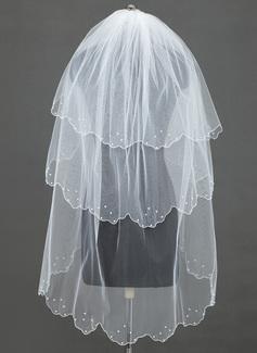 Dreischichtig Fingerspitze Braut Schleier mit Rand mit Perlen/Wellenkante (006034468)