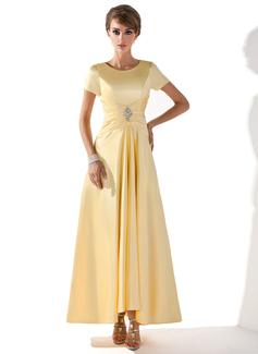 A-formet/Prinsesse Scoop Hals Asymmetrisk Charmeuse Kjole til brudens mor med Frynse Perlebesydd (008005699)