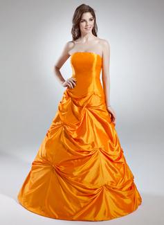 A-Linie/Princess-Linie Trägerlos Bodenlang Taft Quinceañera Kleid (Kleid für die Geburtstagsfeier) mit Rüschen (021016035)