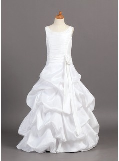 Flower Girl Dresses A-Line/Princess Scoop Neck Floor-Length Taffeta Flower Girl Dress With Ruffle Sash Beading (010004121)