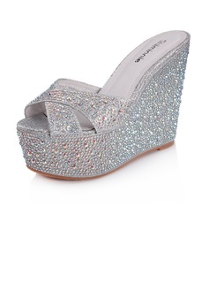 Leatherette Sparkling Glitter Wedge Heel Sandals Platform Peep Toe Slippers With Rhinestone shoes (087025705)