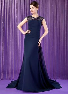 A-Linie/Princess-Linie U-Ausschnitt Watteau-falte Chiffon Kleid für die Brautmutter mit Rüschen Spitze Perlstickerei Pailletten (008018769)
