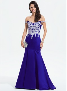 Trumpet/Mermaid Off-the-Shoulder Sweep Train Satin Evening Dress With Lace Beading (017196090)