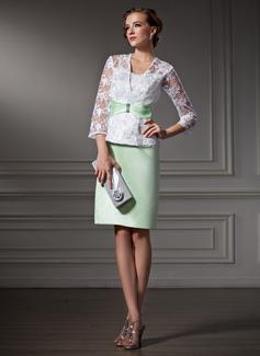 Etui-Linie Herzausschnitt Knielang Satin Spitze Kleid für die Brautmutter mit Perlen verziert (008006161)